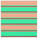 [ Thumbnail: Green, Light Salmon, and Dark Red Stripes Fabric ]
