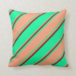 [ Thumbnail: Green, Light Salmon, and Dark Red Stripes Pillow ]