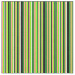 [ Thumbnail: Green, Light Salmon, Black & Light Yellow Stripes Fabric ]