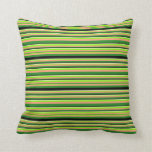 [ Thumbnail: Green, Light Salmon, Black & Light Yellow Stripes Throw Pillow ]