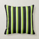 [ Thumbnail: Green, Light Salmon, Chartreuse, Beige & Black Throw Pillow ]