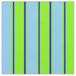 [ Thumbnail: Green, Light Sky Blue, and Blue Colored Stripes Fabric ]
