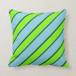[ Thumbnail: Green, Light Sky Blue, and Blue Colored Stripes Throw Pillow ]