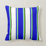 [ Thumbnail: Green, Light Sky Blue, Blue, White, and Black Throw Pillow ]
