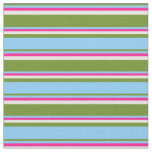 [ Thumbnail: Green, Light Sky Blue, Deep Pink, and Beige Lines Fabric ]