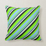 [ Thumbnail: Green, Light Sky Blue, Gray, Mint Cream & Black Throw Pillow ]