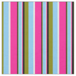 [ Thumbnail: Green, Light Sky Blue, White, Deep Pink & Black Fabric ]