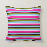 [ Thumbnail: Green, Light Sky Blue, White, Deep Pink & Black Throw Pillow ]