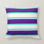 [ Thumbnail: Green, Light Sky Blue, White, Indigo & Black Throw Pillow ]