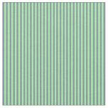 [ Thumbnail: Green & Light Slate Gray Lines Fabric ]