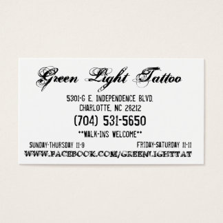 Green Light Tattoo Card
