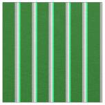 [ Thumbnail: Green, Light Yellow, Dark Gray & Dark Green Lines Fabric ]