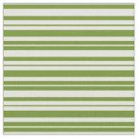 [ Thumbnail: Green & Light Yellow Pattern of Stripes Fabric ]