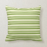 [ Thumbnail: Green & Light Yellow Striped/Lined Pattern Pillow ]