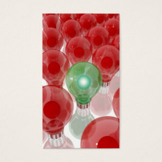 Green lightbulb surrounded by light network bulbs business card