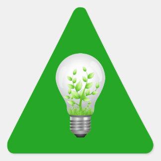 Green Lightbulb Symbol Triangle Sticker