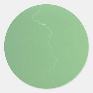 Green Lightning Classic Round Sticker