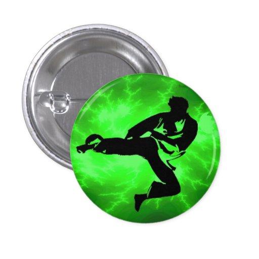 Green Lightning Man pinback button