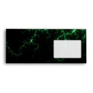 Green Lightnings on Black - fractal design Envelope