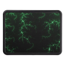 Green Lightnings on Black - fractal design Trailer Hitch Covers