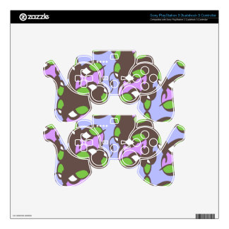 Green Lilac Brown Art Deco PS3 Controller Decals