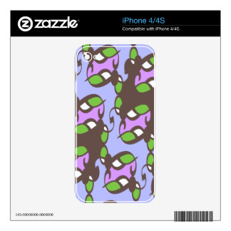 Green Lilac Brown Art Deco Skin For The iPhone 4S