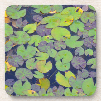 Green lilypads pattern beverage coaster