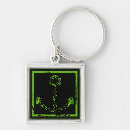 Green Lime Anchor Fine Art Silver-Colored Square Keychain