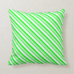[ Thumbnail: Green, Lime, and Mint Cream Lines Throw Pillow ]