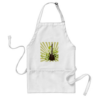 Green lime black guitar design adult apron