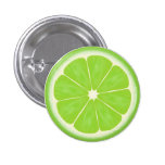 Green Lime Citrus Fruit Slice 1 Inch Round Button