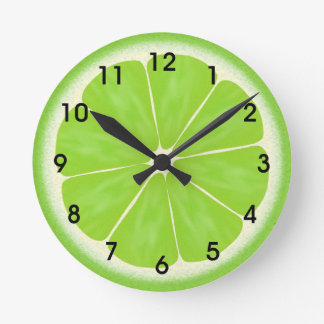 Green Lime Citrus Fruit Slice Round Wall Clocks