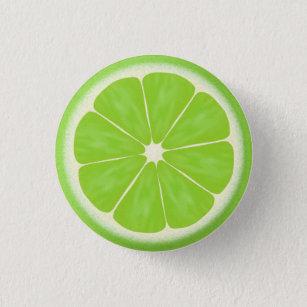 8a1543ed6a08cb Green Lime Citrus Fruit Slice Pinback Button