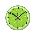 Green Lime Citrus Fruit Slice Round Wall Clocks