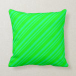 [ Thumbnail: Green & Lime Lines Throw Pillow ]