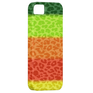 Green Lime Orange Red Yellow Leopard Retro Stripes iPhone SE/5/5s Case