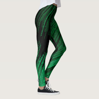 Green line art, abstract design, stripes pattern leggings