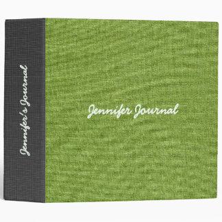Green Linen Burlap Texture 3 Ring Binders