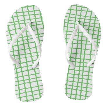 Beach Themed Green lines 2017 nature Custom Adult, Slim Straps Flip Flops