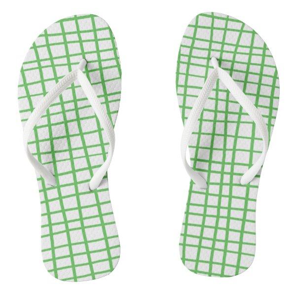 Green lines 2017 nature Custom Adult, Slim Straps Flip Flops