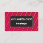 [ Thumbnail: Green Lines On Crimson Pattern Business Card ]