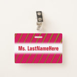 [ Thumbnail: Green Lines On Crimson Pattern + Teacher Name Badge ]