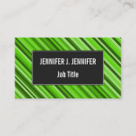 [ Thumbnail: Green Lines/Stripes Pattern Business Card ]