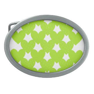 Green Linked Hearts Oval Belt Buckle