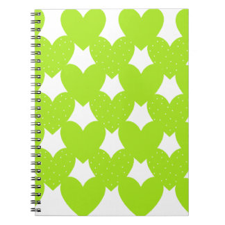 Green Linked Hearts Spiral Note Books