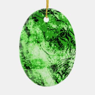 Green lion ceramic ornament