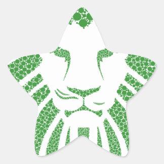 Green Lion Head Star Sticker