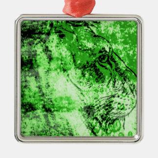 Green lion metal ornament