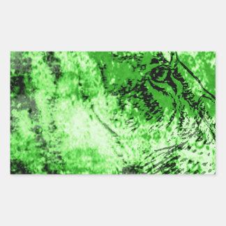 Green lion rectangular sticker