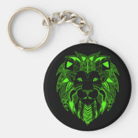 Green Lion With Background Color of Your Choice Keychain